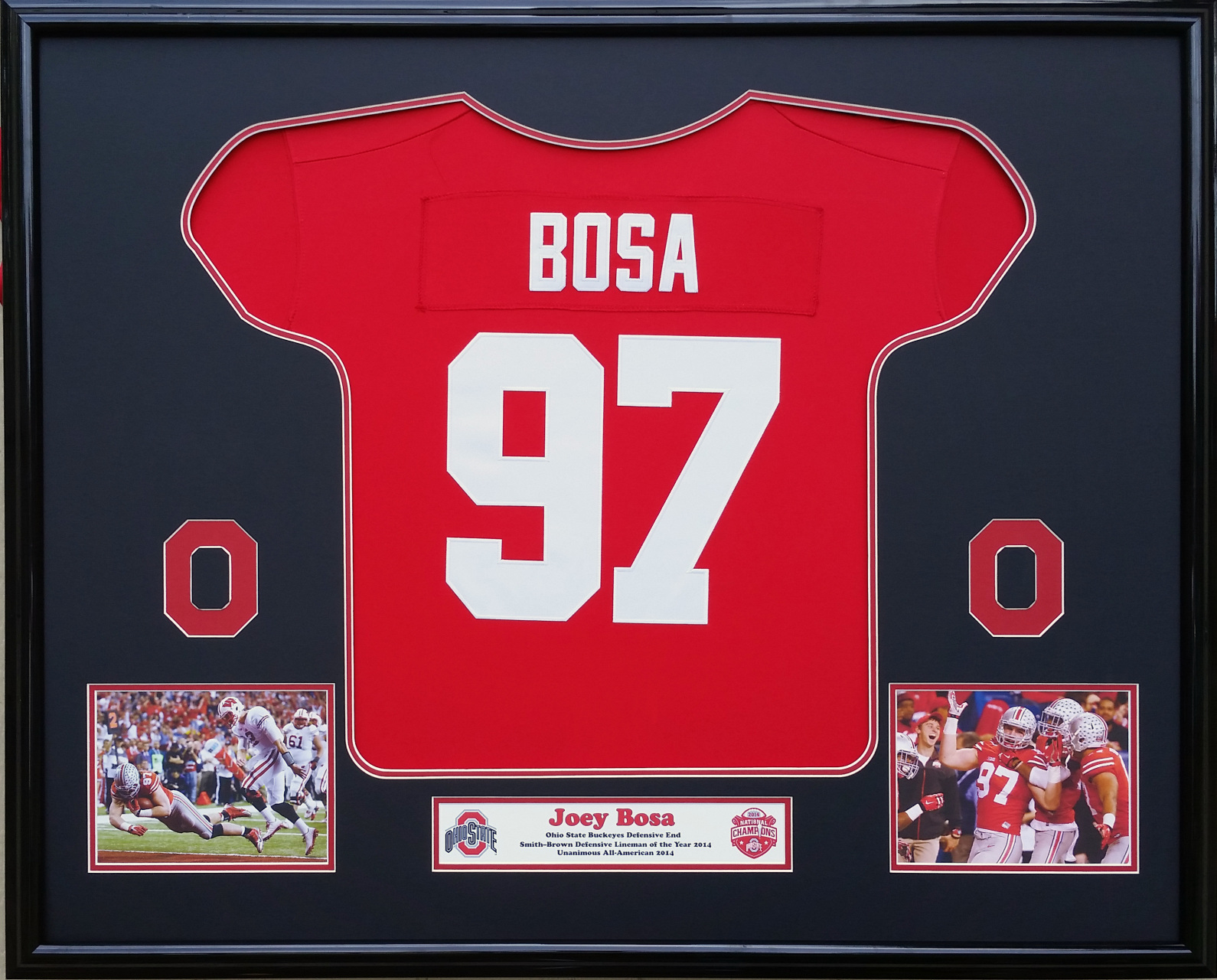 Buckeyes picture this framing co ohio state buckeyes 2014 national champions tribute joey bosa framed jersey jeuxipadfo Image collections